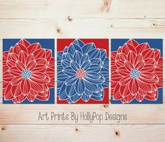 Red Blue Dahlia Wall Art Floral Home Decor Set by HollyPopDesigns