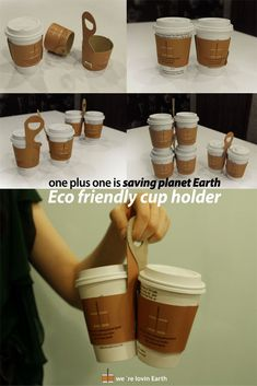 One Plus One Coffee Cup Sleeve And Carry-Away Package Design by Jin Won Park -- Genius! So much easier to carry multiple drinks. Coffee Carts, Coffee Truck, Coffee Drinks, Coffee Mugs, Coffee Shops, Coffee Tables, Coffee Van, Coffee To Go, Great Coffee