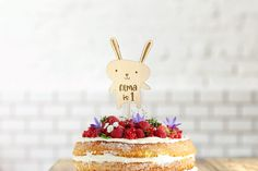 Wood Cake Topper Bunny|Rabbit Birthday Cake Decoration|Engrave with own text|Custom Name|Easter Decoration|Laser Cut|Birch Wood|Eco Friendly by InspiredbyAlma on Etsy Wooden Cake Toppers, Wood Cake, Custom Cake Toppers, Giraffe Birthday Parties, Birthday Balloons, Its A Boy Balloons, Cake Sizes, Custom Balloons, Birthday Cake Decorating