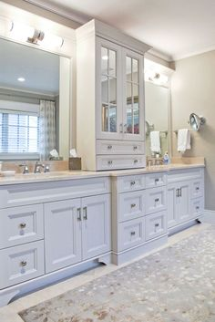 Image result for bathroom double vanity with center tower