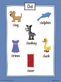 letter d words and pictures printable cards dog duck deer dolphin color d words pinterest alphabet worksheets lettering and worksheets