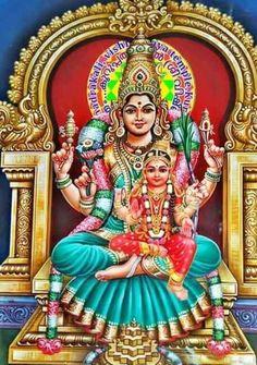 Goddess Parvati(Lalitha Tripurasundari) with her daughter Ashokasundari(Bala Tripurasundari)