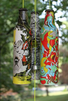 Painted beer bottle Wind Chimes