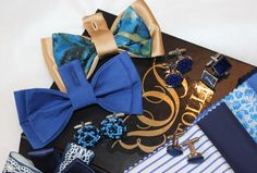 Blue pearl cuff-links , blue&gold bow ties by Betolli for solemn occasions.