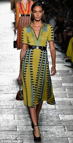 Girl power: British models Jourdan Dunn and Karen Elson then joined the troup in more colourful looks