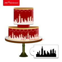 New York Skyline Cake Stencil Cake Side Stencil Fondant cake decorating Mold Wall Decorating Stencil Bakeware Pastry Tool ST-418(China (Mainland))