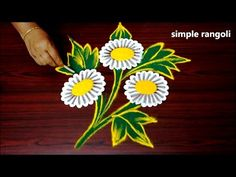 Simple freehand Diwali special rangoli designs with colours - Diwali Rangoli design - YouTube