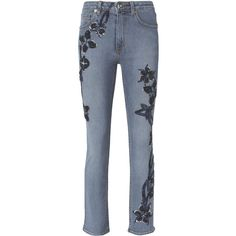 Embroidered High-Rise Jeans ($1,495) ❤ liked on Polyvore featuring jeans, blue jeans, highwaist jeans, embroidery jeans, high waisted blue jeans and embroidered jeans