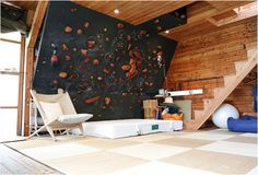 Building a climbing wall can be a pleasant and satisfying experience. To begin with, have a look around the possible places you can place your climbing wall. Since you may see, building your own ro… Indoor Climbing Wall, Rock Climbing, Bouldering Wall, Mountain Cottage, Mountain Cabins, Mountain Biking, Forest House, Living Spaces, New Homes