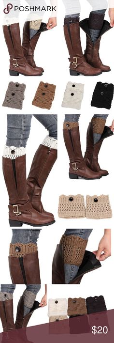 """LEG WARMERS Button Crochet Boot Topper Cuffs ·100% Brand New and High Quality.  ·Hot Women Ladies Winter Leg Warmers Button Warm Crochet Knit Boot Socks Toppers Cuffs  ·Fashion accessory for all ladies, perfect to match with your boots.  ·A sweet and warm gift for friends or families.   Type: Leg Warmers  Material: Acrylic Fiber  Length: 13cm/ 5.11"""" (Approx.)  Width: 12cm/ 4.72"""" (Approx.)   Package Includes:  1 Pair of Leg Warmers  Note:  PRICE IS FIRM UNLESS BUNDLED Accessories Hosiery…"""