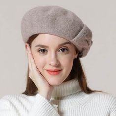 cd2eba7c55e20 Fashion ladies bow wool beret hat vintage warm winter hats
