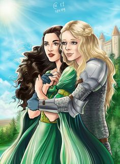 """Morgana and Morgause from BBC """"Merlin"""" TV-show. Morgana and Morgause Princess Charming, My Prince Charming, My Princess, Lesbian Art, Lesbian Love, Fantasy Women, Fantasy Art, Fantasy Heroes, Merlin Fandom"""