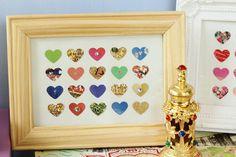 JEWEL LOVE Heart Art Collaged Frame Piece