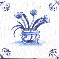 Delft tile with tulips