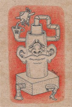 Untitled drawing by Laz Buy Prints, Cute Drawings, Surrealism, Tea Time, Saatchi Art, Doodles, Creatures, Fantasy, Time Art