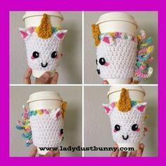 Unicorn Coffee Sleeve - Free Crochet Pattern at LadyDustBunny