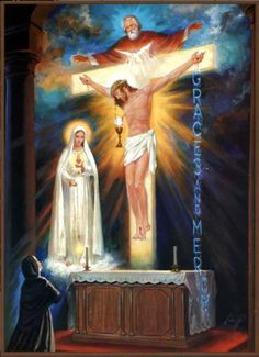 Divine Mercy Of Jesus A vision of St Faustina where she understood that God blessed the world for the sake of Jesus.I also see in this image the Trinity and to the left Our Lady of Fatima. Image Jesus, Jesus Christ Images, Miséricorde Divine, Divine Mercy, Blessed Mother Mary, Blessed Virgin Mary, Lady Of Fatima, Christian Pictures, Christ The King