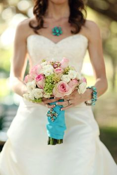 This bouquet has a soft spot in my heart.   I love the turquoise accents. @Stacy Stone Sullivan