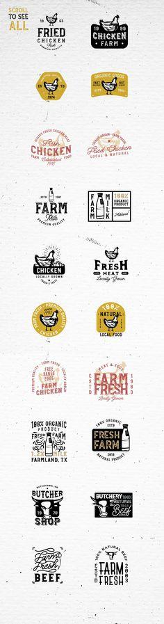 20 FARM FRESH Logos & Badges by Roman Paslavskiy on @creativemarket