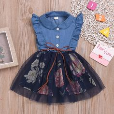 New arrival💙💙Ruffle Side Denim Tulle Dress ------- 🛒Sho Baby Girl Frocks, Frocks For Girls, Dresses Kids Girl, Kids Outfits Girls, Baby Dresses, Dress Girl, Kids Girls, Baby Girls, Baby Outfits