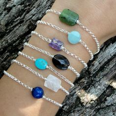Beautiful gemstone silver layering bracelets...you choose stones..lapis, turquoise and more. on Etsy, $36.00