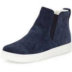 Prada Suede High-Top Slip-On Sneaker