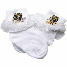 LSU Tigers Infant Girls Lace Anklet Socks - White
