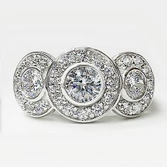 Trio of Rounds w/ Pave Halo Designer Inspired CZ Ring 1.0 Ct TW