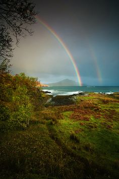 """Rainbow Over Tianavaig Bay"" Isle of Skye - Russell Sherwood Photography"