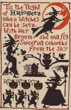 Vintage looking Halloween x-stitch sampler