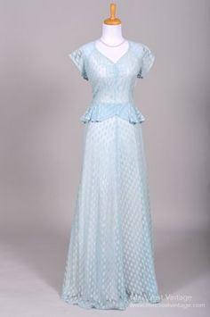 1940s Sky Blue Lace Embroidered Wedding Gown.