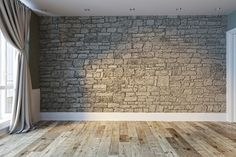 empty room interior stone wall and wood floor. Classroom Background, Slide Background, Interior Rendering, 3d Rendering, Bedroom Wall, Master Bedroom, House Template, Background Designs, Stone Cottages