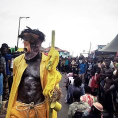 Serge Attukwei Clottey performing today at Chale Wote Street Festival, Accra, Ghana