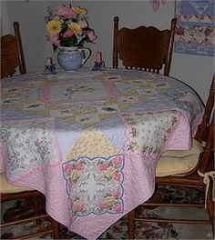 "Happy Hankies | Rose Cottage Quilts Love this website! This 65"" square quilt was inspired by a lovely collection of handkerchiefs"