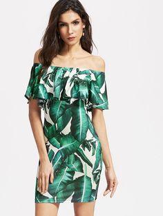 7b37826738d Sexy Leaves Print Off-shoulder Flouncing Short Sleeve Women Mini Dress  Ruffle Shorts, Ruffle