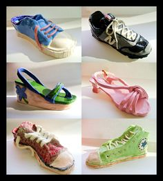 Ceramic Shoes-examples of ceramic shoes created by middle school students.  Nice realistic sculpture option for students.  The way the leather or canvas on shoes lies creates a unique opportunity to sculpt from life.  An everyday object which every student takes for granted looking at closely. Shoes can often be an important part of the wardrobe for the average middle school student.