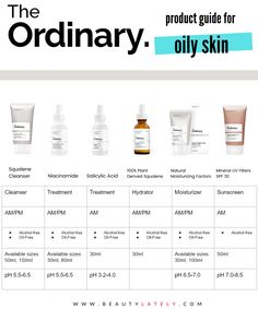 The Ordinary skincare guide: Which products are right for your Oily, Acne Prone Skin? Discover this budget-friendly and effective skincare brand. Skincare For Oily Skin, Oily Skin Care, Face Skin Care, Oily Skincare Routine, Moisturizer For Oily Skin, Dry Face Skin, Facial Cleanser, Oily Skin Products, Primer For Oily Skin