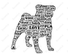 PERSONALIZED Pug Dog Silhouette Word Art Print 8 X 10 by PetGifts, $14.99