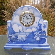 BIHL Spritzdekor Keramik Tischuhr Schrankuhr 20 Jahre Art Deco aus Sammlung