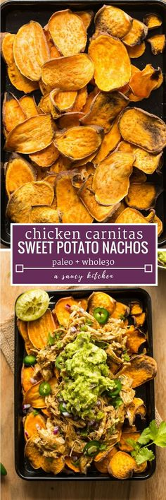 Sweet Potato Nachos with Chicken Carnitas - Homemade, oil-free baked sweet potato 'chips' topped with red onion, jalapeno, and guacamole. Healthy, indulgent and extremely filling! #GlutenFree + #Paleo + #Whole30 #healthynachos #sweetpotato #carnitas