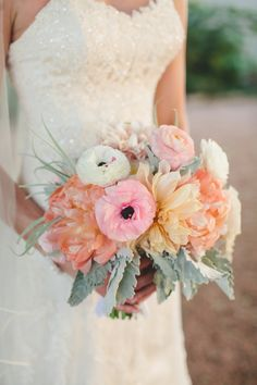 Pink + peach bridal #bouquet | Photography: SMS Photography - smsphotography.com  Read More: http://www.stylemepretty.com/southwest-weddings/2014/05/02/southern-mansion-wedding/