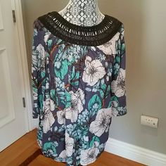 """Anthropologie Earthly Delights peasant top NWT Anthro peasant top in shades of blue and green with lace trim neckline by Meadow Rue. Cotton-modal jersey. 26.5"""" length. Anthropologie Tops"""