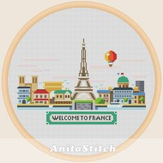 Welcome to France - Cross stitch pattern