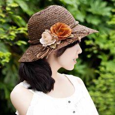 Coffee straw hat for women sun beach hats flower decoration