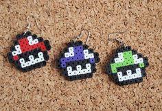 Mario Mushroom Earrings perler fusible hanna bead by UpcycleFever
