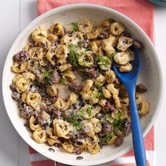 Beefy Tortellini Skillet Recipe -This skillet wonder is a tortellini dish the family craves. From browning beef to cooking the pasta and melting the cheese, everything happens in one pan. You can add basil or chives for a touch of freshness. —Juli Meyers, Hinesville, GA