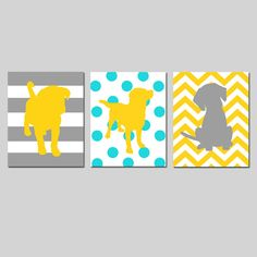 Puppy Dog Trio  Set of Three 11x14 Prints  Kids Wall by Tessyla, $59.50 Can change to nursery colors- aqua, gray, apple...