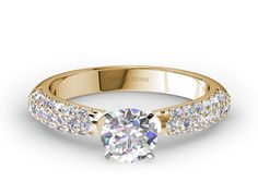Mid Three Row Pave Set Diamond Engagement Ring In Yellow Gold