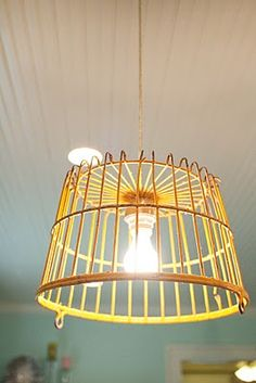 DIY pendant light from antique egg crate and pendant kit