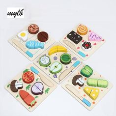 Best Price mylb Wooden Toy Kitchen Cut Fruits Vegetables Dessert Kids Cooking Kitchen Toy Food Pretend Play Puzzle Educational Toys